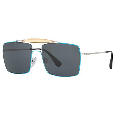 Image of Prada PR57SS Square Sunglasses, Silver/Turquoise