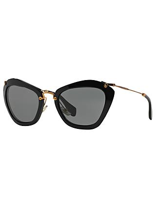 Miu Miu MU10NS Cat's Eye Sunglasses, Black