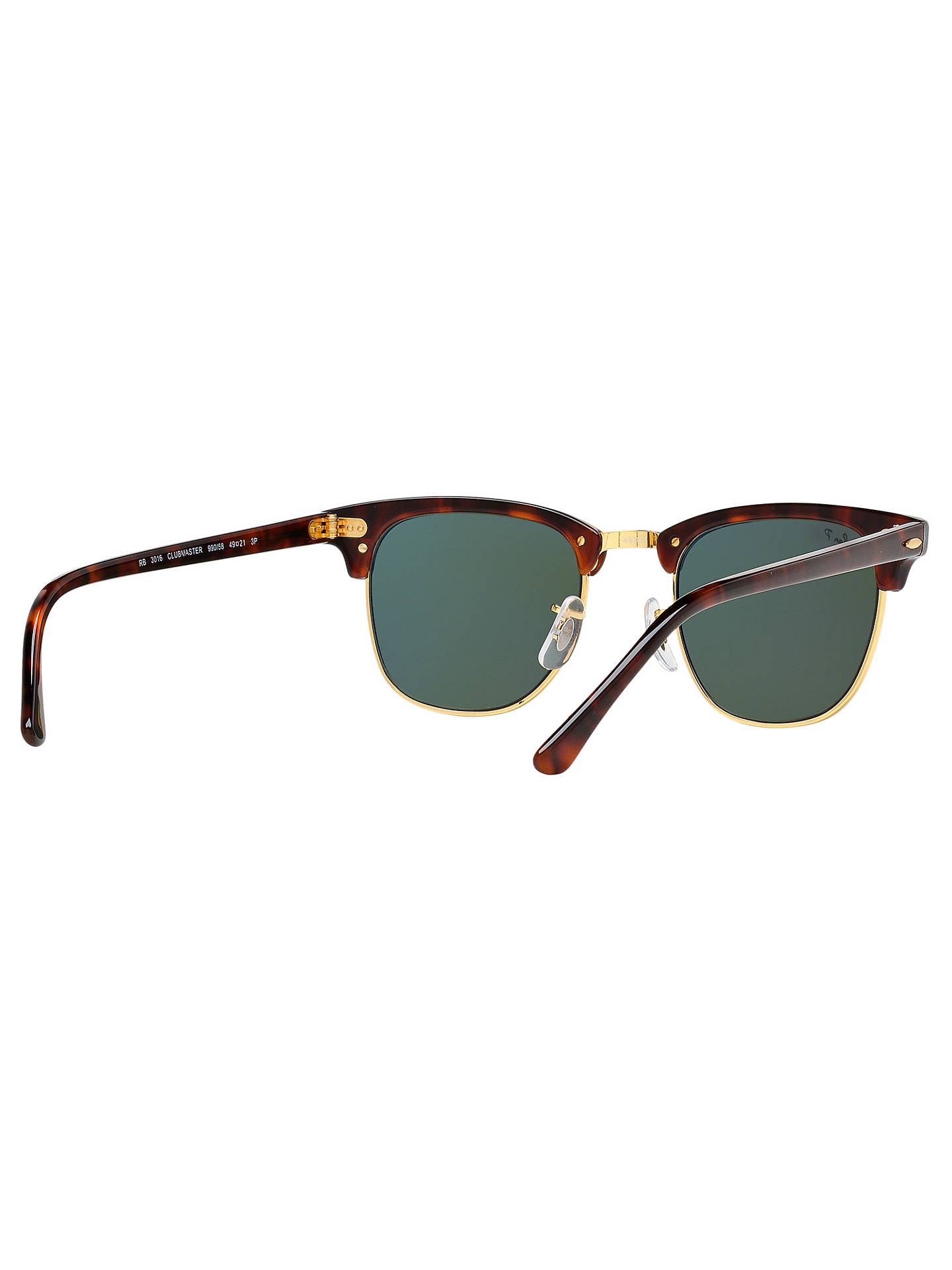 496e3f912 ... Buy Ray-Ban RB3016 Men's Polarised Clubmaster Sunglasses, Tortoise/Dark  Green Online at ...