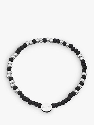 Under the Rose Morse Code '18th' Bead Bracelet, Black/Silver