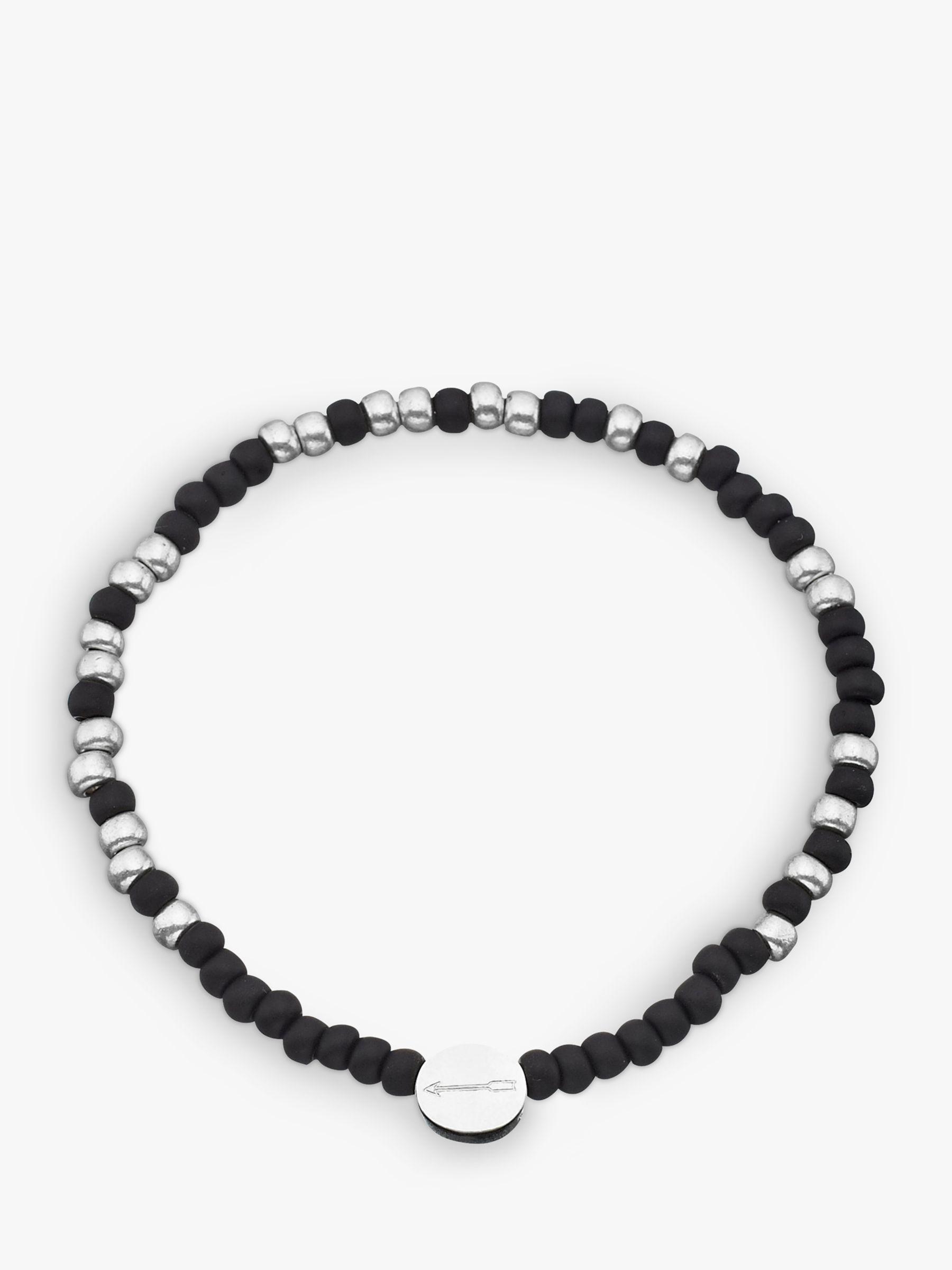 Under The Rose Under the Rose Morse Code '18th' Bead Bracelet, Black/Silver