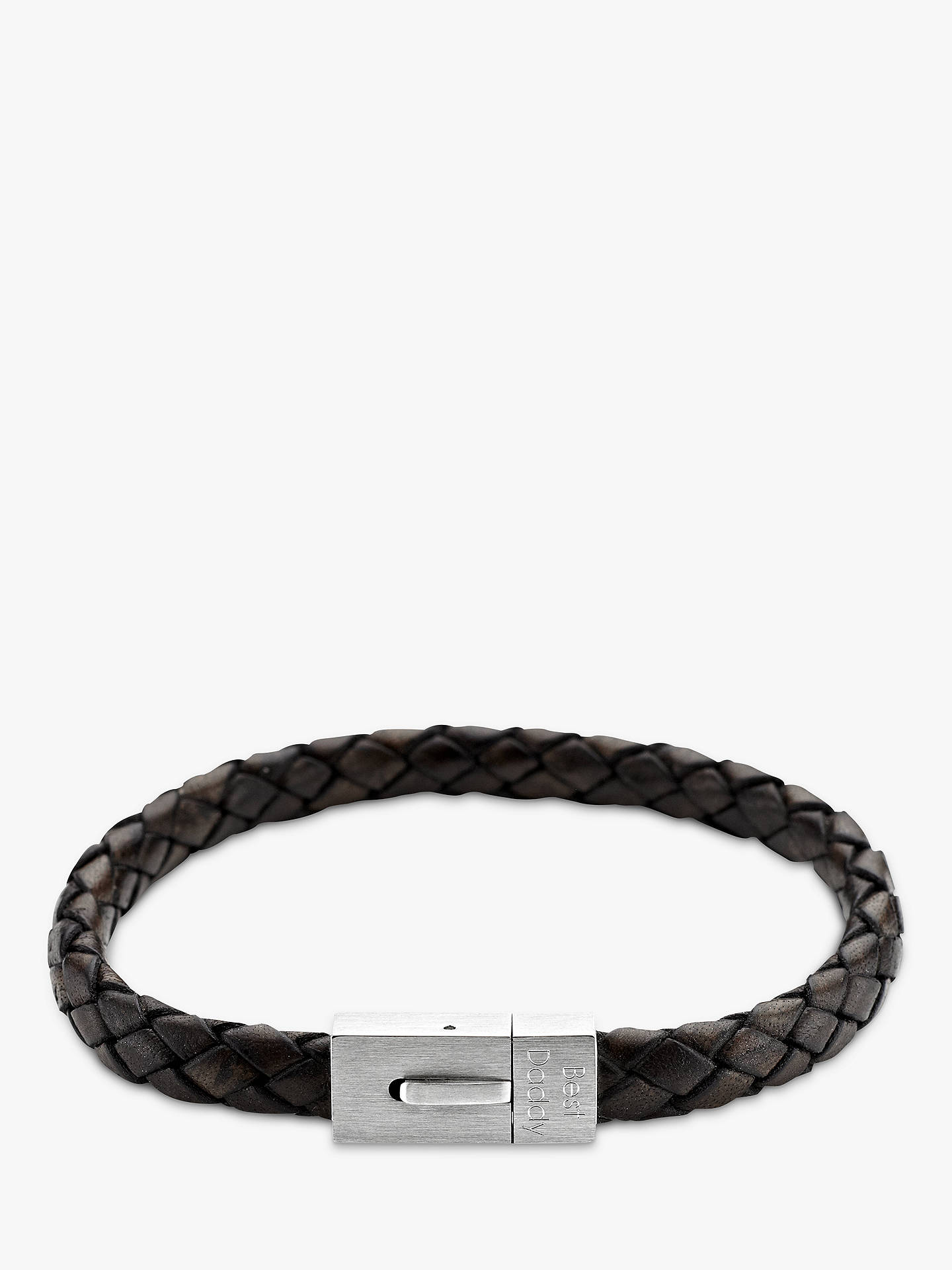 Under The Rose Personalised Men S Leather Bracelet 22cm Online At Johnlewis