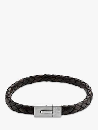 Under the Rose Personalised Men's Leather Bracelet, Brown