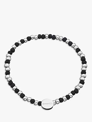 Under the Rose Morse Code 'Love you' Bead Bracelet, Black/Silver