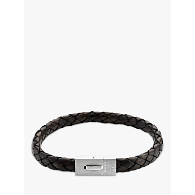Under the Rose Personalised Men's Leather Bracelet, Brown