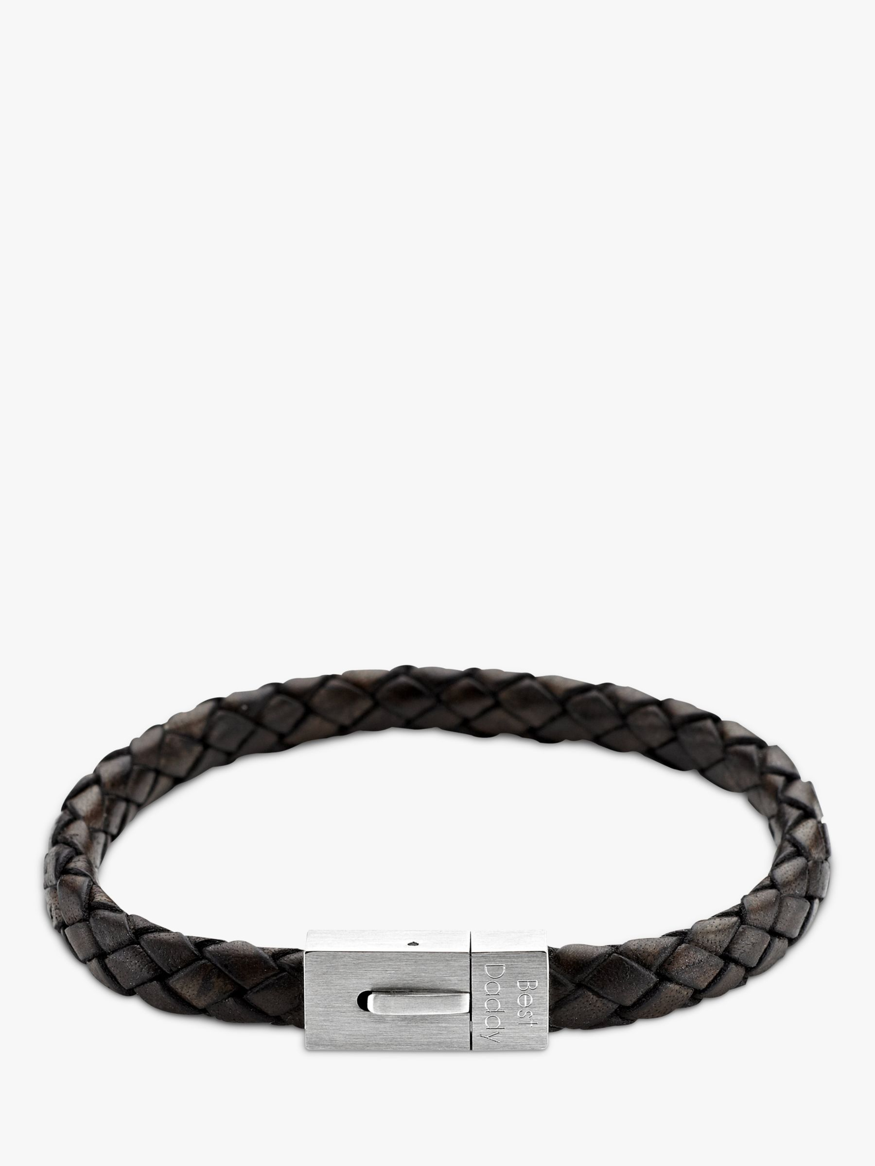 Under The Rose Under the Rose Personalised Men's Leather Bracelet, Brown
