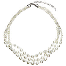 Buy John Lewis Three Row Graduating Faux Pearl and Bead Twist Necklace, White/Clear Online at johnlewis.com