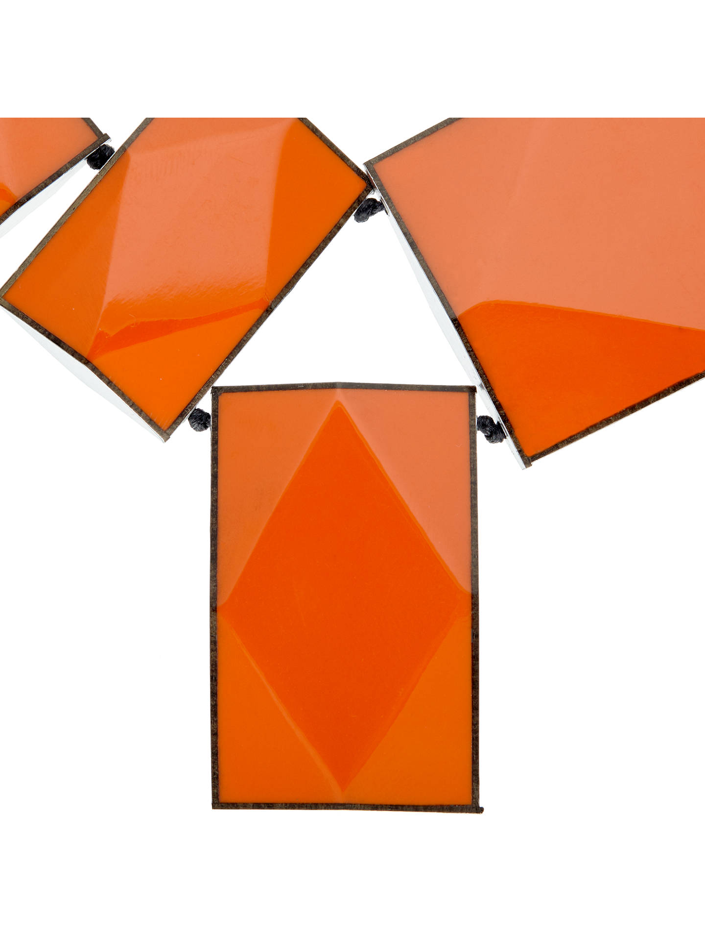 BuyOne Button 4 Large Rectangular Facets Necklace, Orange Online at johnlewis.com