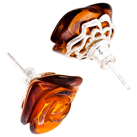 Buy Be-Jewelled Rose Baltic Amber Stud Earrings, Amber Online at johnlewis.com