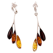 Buy Be-Jewelled Sterling Silver Amber Leaf Drop Earrings, Multi Online at johnlewis.com