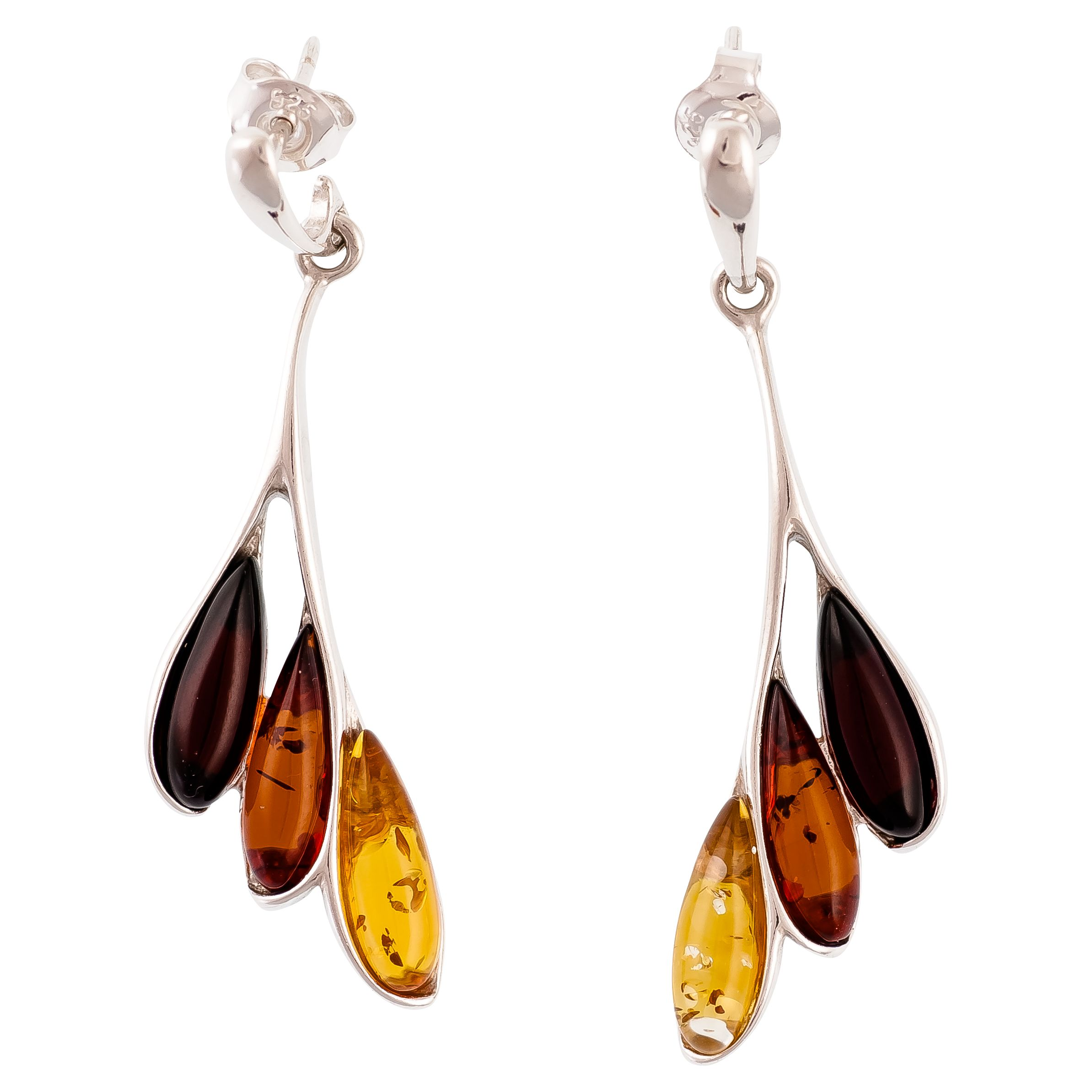 Be-Jewelled Be-Jewelled Sterling Silver Amber Leaf Drop Earrings, Multi
