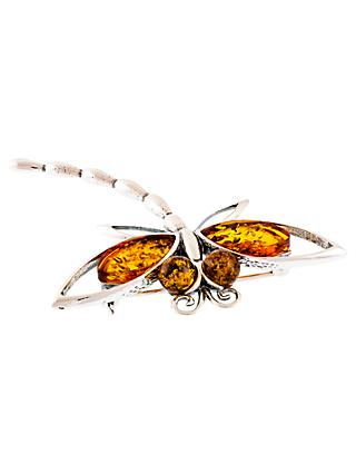 Be-Jewelled Sterling Silver Amber Dragonfly Brooch, Silver/Orange