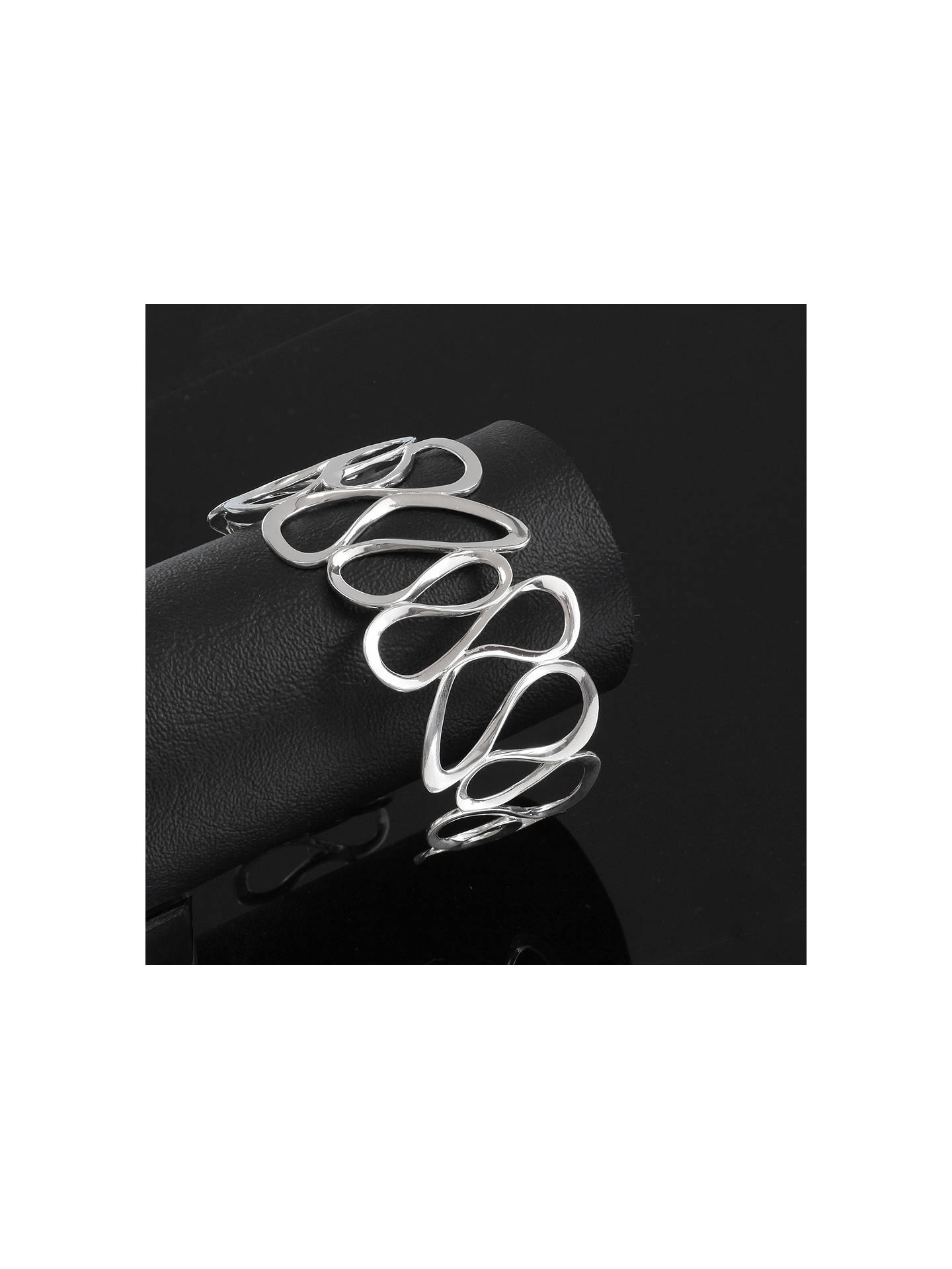BuyNina B Wavy Cuff Bangle, Silver Online at johnlewis.com