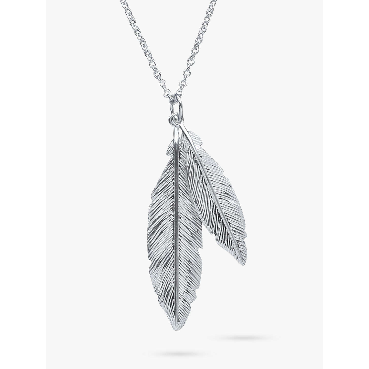 Nina b sterling silver double feather pendant necklace silver at buynina b sterling silver double feather pendant necklace silver online at johnlewis aloadofball Images