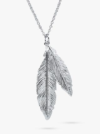 Nina B Sterling Silver Double Feather Pendant Necklace, Silver
