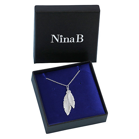 Buy Nina Breddal Sterling Silver Double Feather Pendant Necklace, Silver Online at johnlewis.com