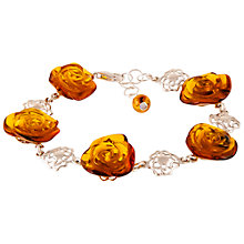 Buy Be-Jewelled Amber Rose Sterling Silver Bracelet, Amber Online at johnlewis.com