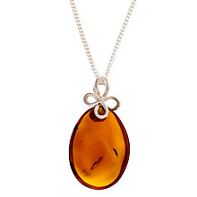 Buy Be-Jewelled Sterling Silver Amber Bow Bail Pendant Necklace, Silver/Orange Online at johnlewis.com