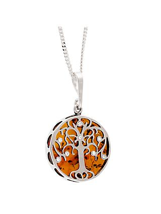 Be-Jewelled Sterling Silver Round Amber Tree Pendant Necklace, Silver/Orange