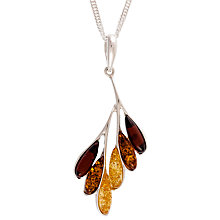 Buy Be-Jewelled Sterling Silver Amber Leaf Pendant, Silver/Multi Online at johnlewis.com