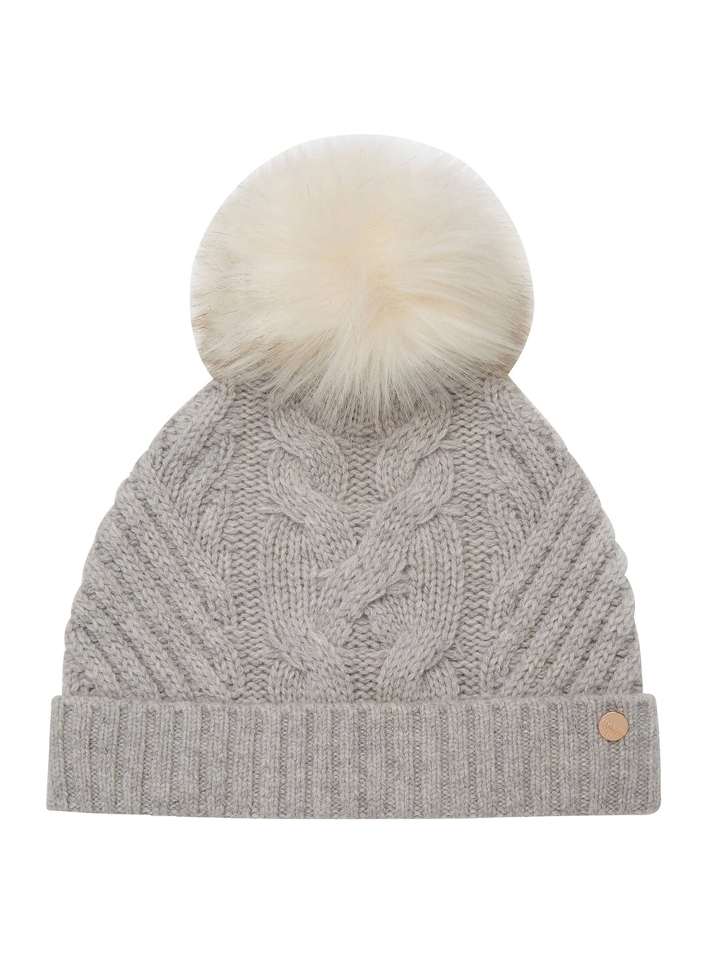 Ted Baker Cable Knit Faux Fur Pom Pom Beanie Hat at John Lewis ... c2e453cfb895