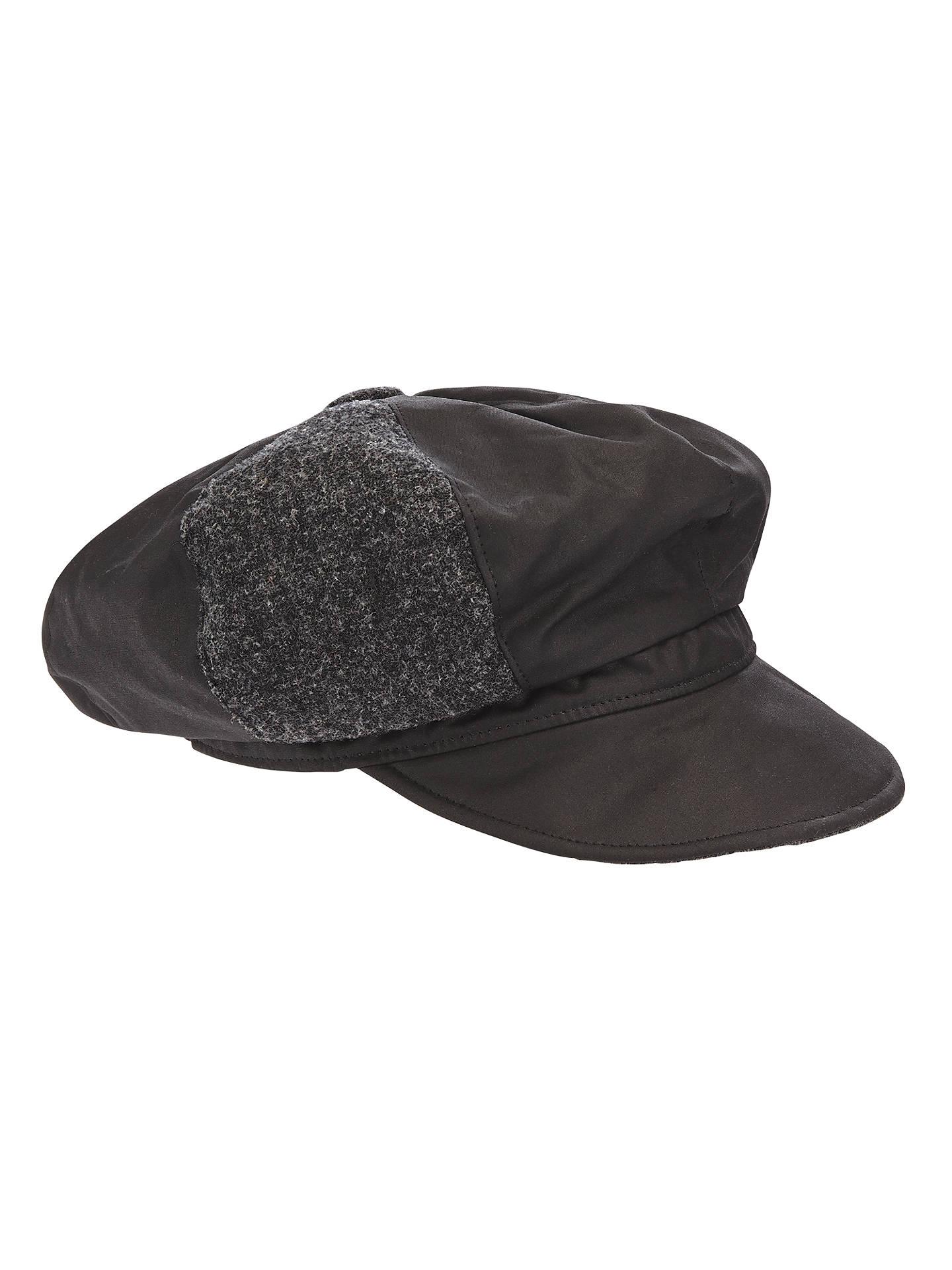 2b4a54353 Olney Ellie Tweed Waxed Cotton Bakerboy Rain Hat, Black at John ...