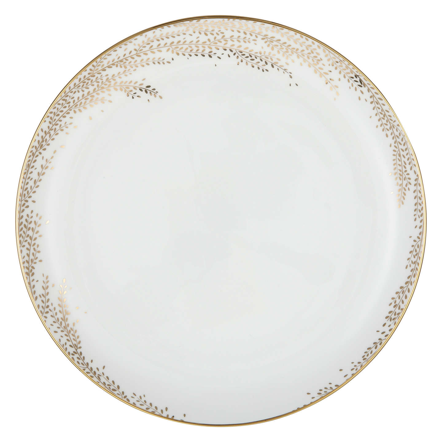 Buyjohn Lewis Contour Gold Willow 275Cm Bone China Plate, Whitegold