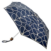 Buy Orla Kiely Linear Leaf Tiny-2 Folding Umbrella, Navy/White Online at johnlewis.com