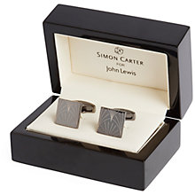 Buy Simon Carter for John Lewis Archive Etched Fan Cufflinks, Gunmetal Online at johnlewis.com