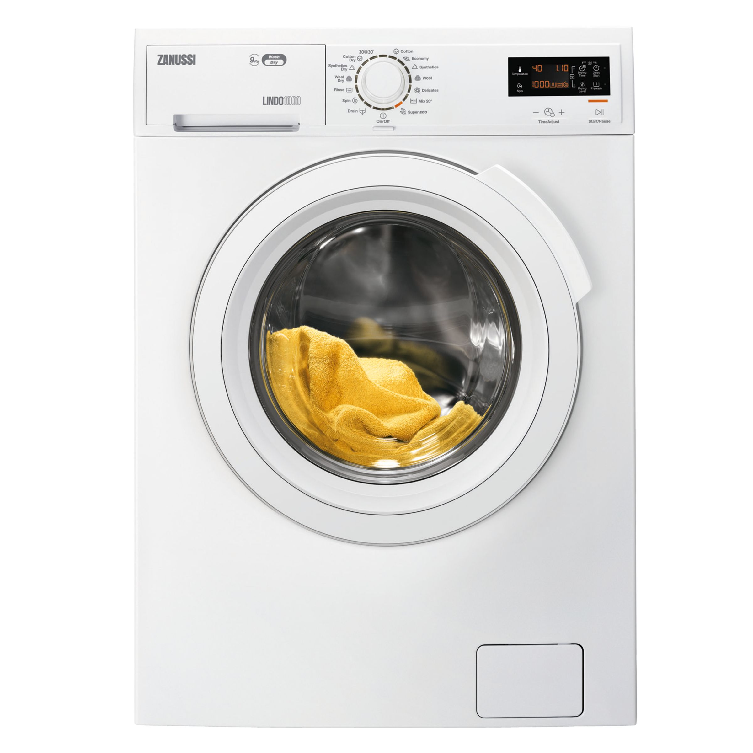 Zanussi Zanussi ZWD91683NW Freestanding Washer Dryer, 9kg Wash/6kg Dry Load, A Energy Rating, 1600rpm Spin, White