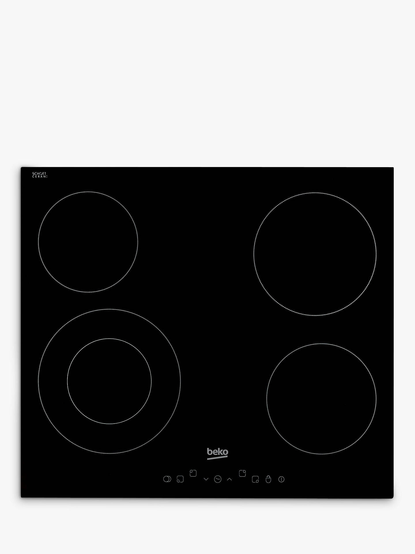 BuyBeko HIC64402T Electric Ceramic Hob, Black Online at johnlewis.com