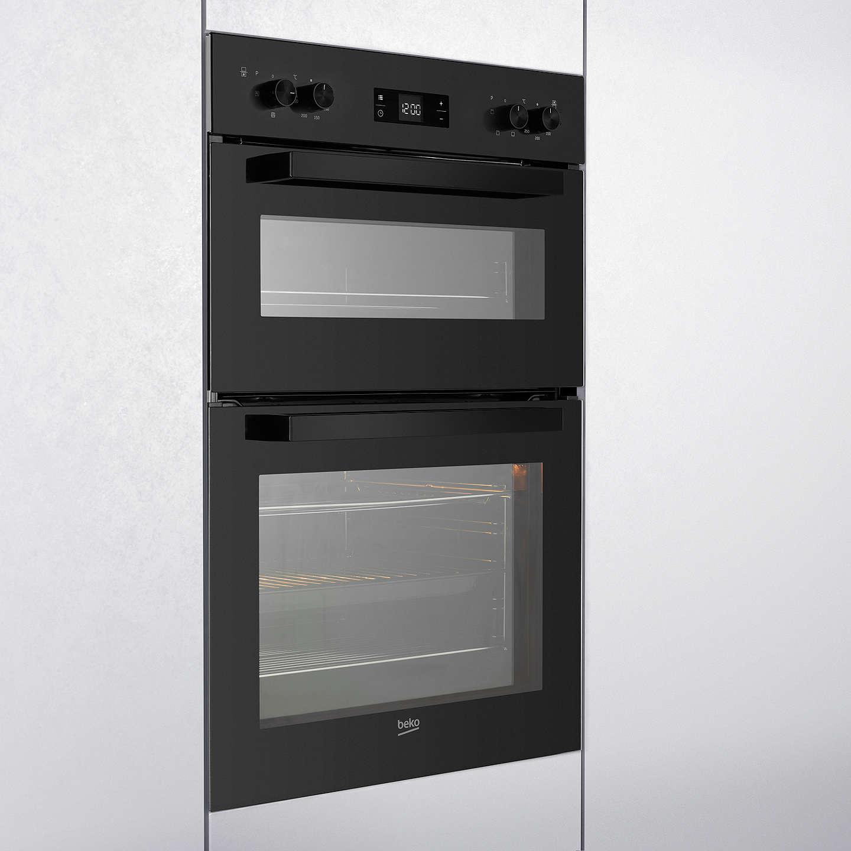 beko bdf22300b built in integrated double oven black at. Black Bedroom Furniture Sets. Home Design Ideas