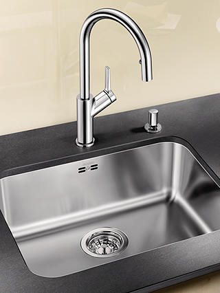 Buy Blanco Supra 500-U Single Bowl Undermounted Kitchen Sink, Stainless Steel Online at johnlewis.com