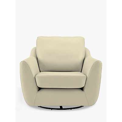 G Plan Vintage The Sixty Seven Leather Swivel Armchair, Capri Chalk