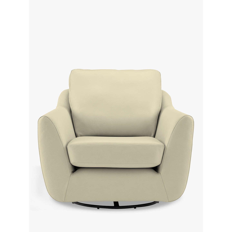 BuyG Plan Vintage The Sixty Seven Leather Swivel Armchair, Capri Chalk  Online At Johnlewis.