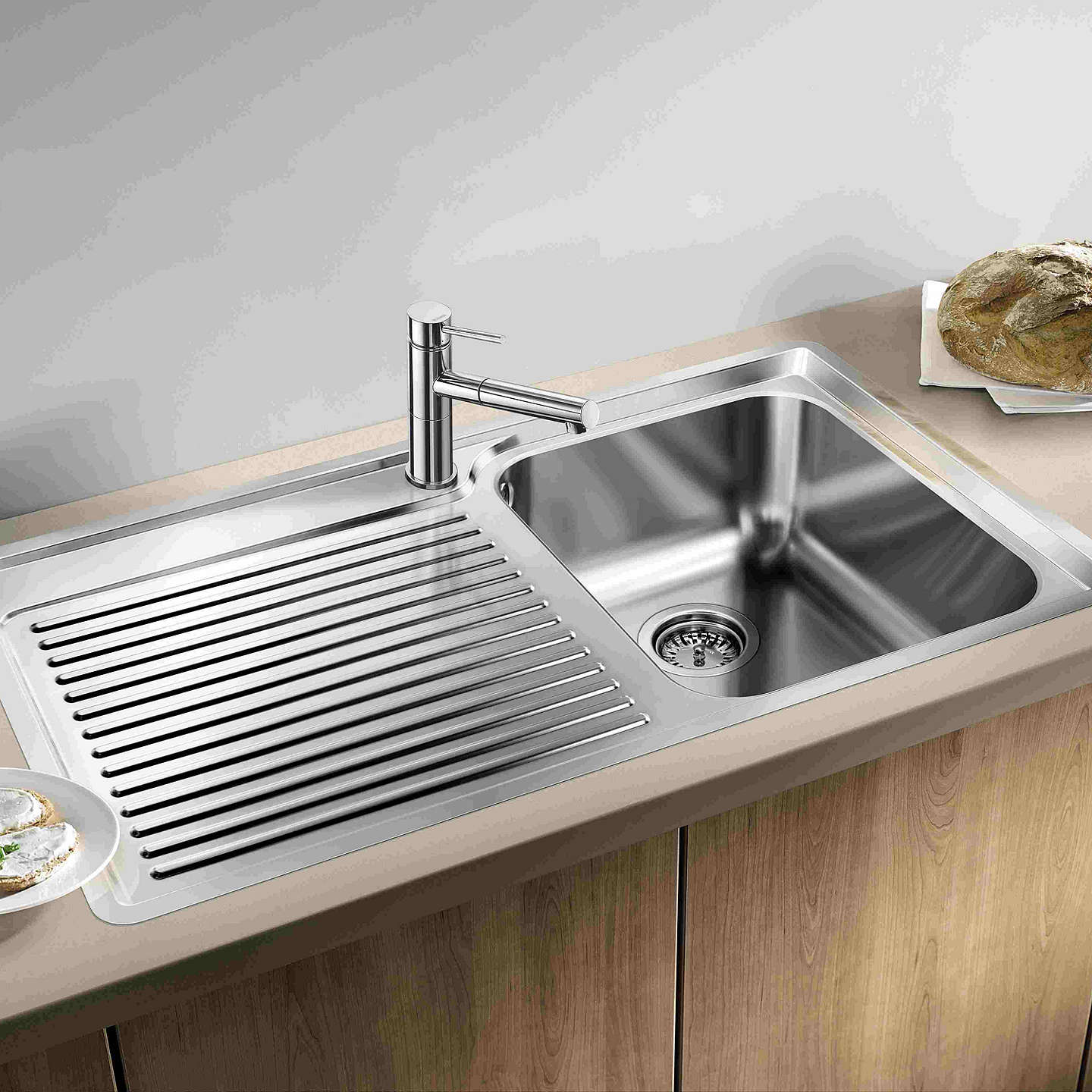Inset Kitchen Sinks Blanco classic 45 s if single inset kitchen sink with right hand buyblanco classic 45 s if single inset kitchen sink with right hand bowl stainless workwithnaturefo