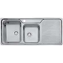 Buy Blanco Classic 8S Double Left Hand Bowl Inset Kitchen Sink, Stainless Steel Online at johnlewis.com
