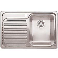 Buy Blanco Classic 4S Single Inset Kitchen Sink with Right Hand Bowl, Stainless Steel Online at johnlewis.com