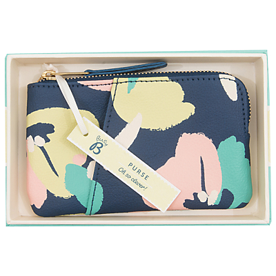 Busy B Floral Coin Purse, Navy