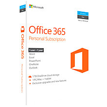 Buy Microsoft Office 365 Personal, 1 PC & 1 Tablet, 1 User, One-Year Subscription Online at johnlewis.com