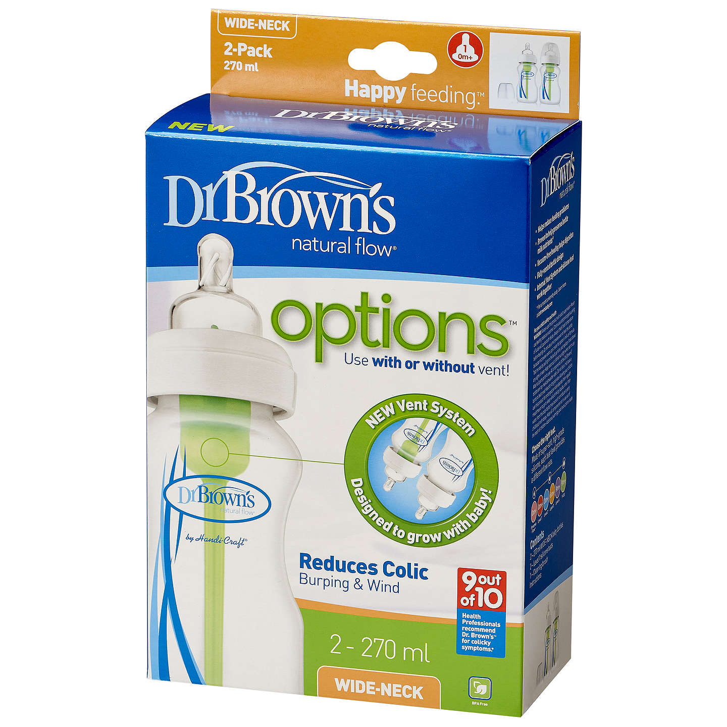 BuyDr Brown's Natural Flow Options Bottle, Pack of 2, 270ml Online at johnlewis.com