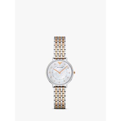 Emporio Armani AR2508 Women's Crystal Two-Tone Bracelet Strap Watch, Silver/Rose Gold
