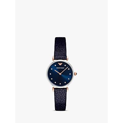 Emporio Armani AR1989 Women's Crystal Leather Strap Watch, Navy