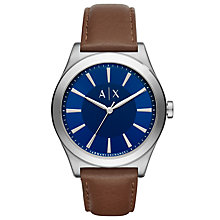 Buy Armani Exchange AX2324 Men's Leather Strap Watch, Dark Brown/Blue Online at johnlewis.com