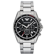 Buy Emporio Armani AR6098 Men's Chronograph Date Bracelet Strap Watch, Silver/Black Online at johnlewis.com