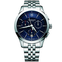 Buy Victorinox 241746 Men's Alliance Chronograph Day Date Bracelet Strap Watch, Silver/Blue Online at johnlewis.com