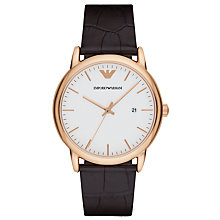 Buy Emporio Armani AR2502 Men's Date Leather Strap Watch, Dark Brown/White Online at johnlewis.com