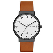 Buy Skagen SKW6297 Men's Ancher Date Leather Strap Watch, Tan/White Online at johnlewis.com