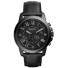 Buy Fossil Men's Grant Chronograph Leather Strap Watch, Black Online at johnlewis.com