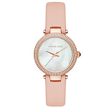 Buy Michael Kors MK2590 Women's Mini Parker Crystal Leather Strap Watch, Blush/Mother of Pearl Online at johnlewis.com